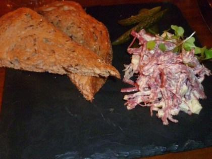 Potted salt beef, cornichons and toast