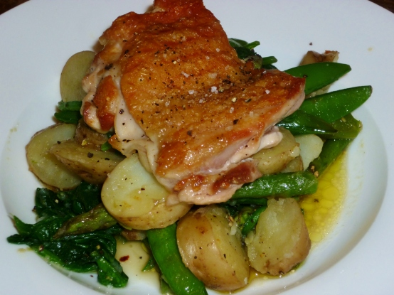Griddled Chicken and Spring veg